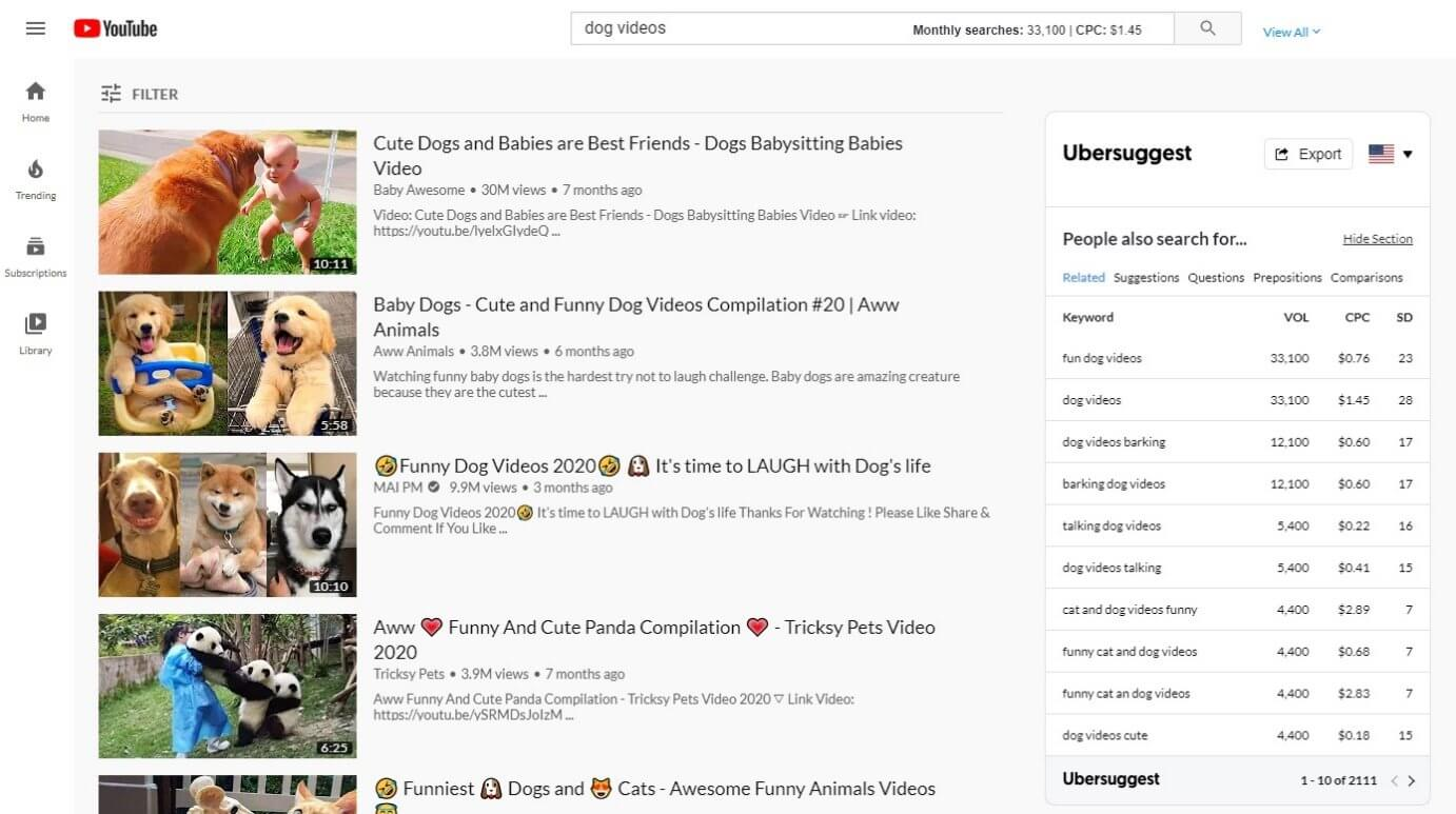 Ubersuggest Chrome Extension