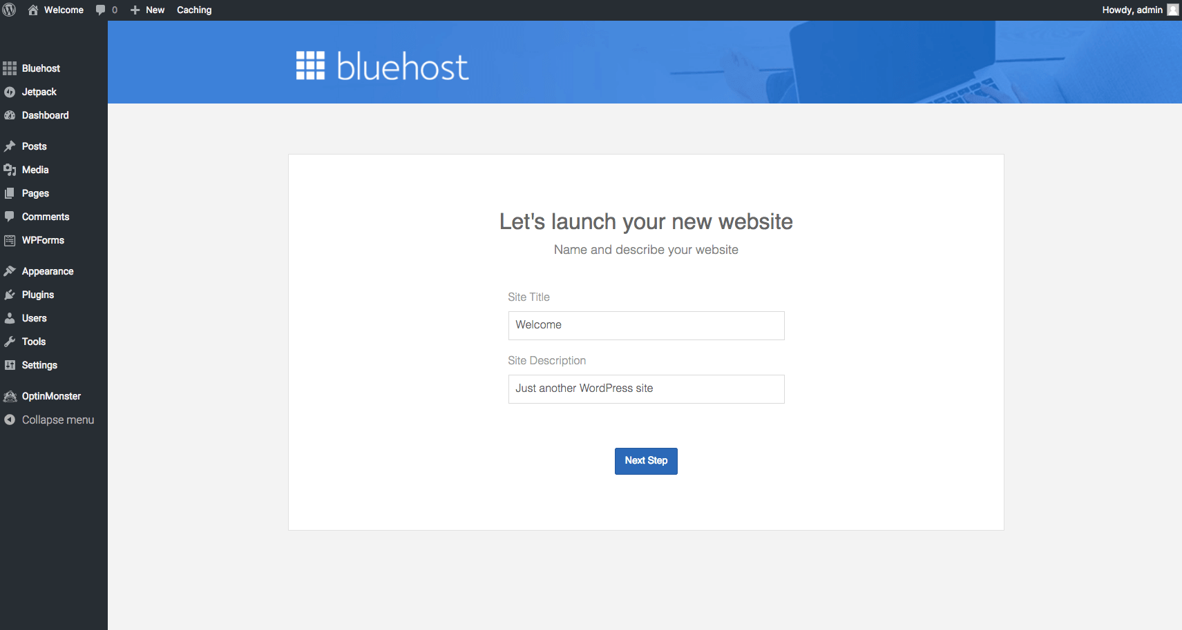 Bluehost WordPress Set up